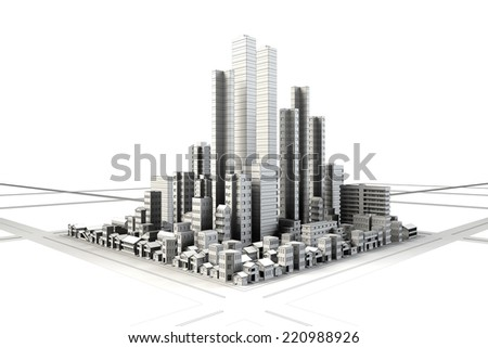 Line drawing of building district - stock photo