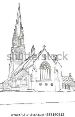 Line drawing of St. Giles Roman Catholic Church, Cheadle,Staffordshire, UK - stock photo