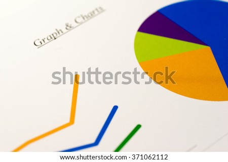 Line graph and pie chart - stock photo