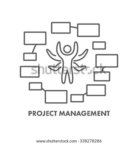 Line icon project management. Business symbol, logo and banner