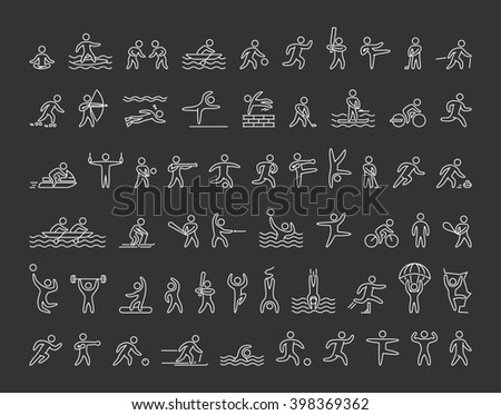 Line icons of sportsmen on black background. Set of linear figures of athletes of winter and summer sports. Line figure athletes popular sports. Set of athletes.