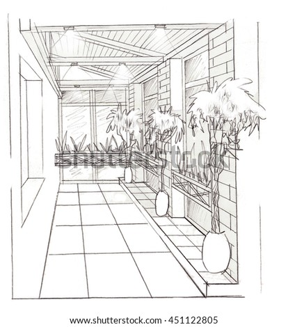 Line Interior Drawing On White Background. Architectural Design.