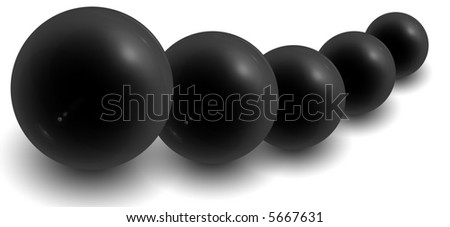 line of black orbs on white