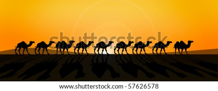 line of camels in from of burning sun in savanna desert - stock photo