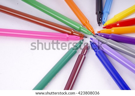 line of colored pencils