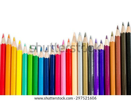 line of colored pencils isolated white background, save clipping path. - stock photo