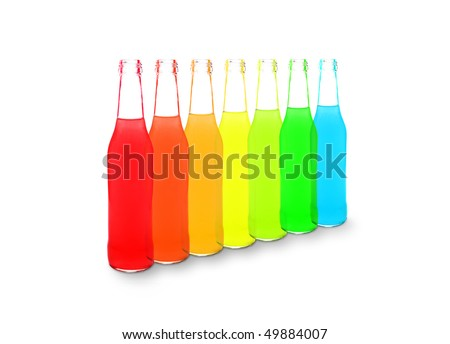 Line of colorful alcohol drinks isolated on white