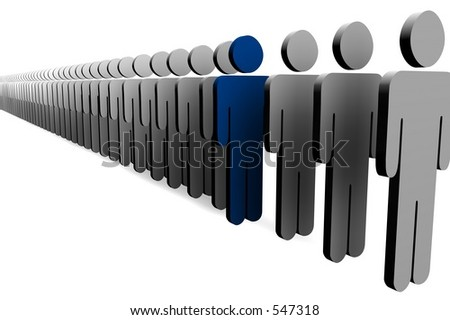 Line of 3d figures with one blue - stock photo