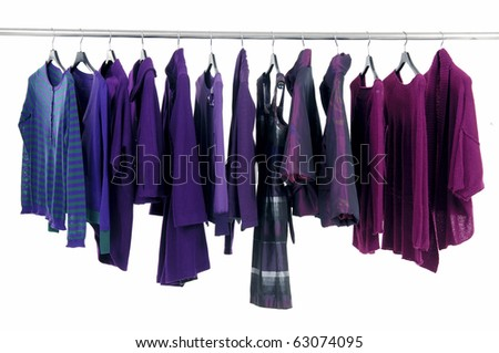 Line of fashion autumn/winter clothes rack - stock photo