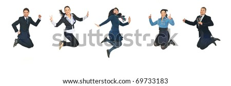 Line of five successful business people jumping  isolated  on white background - stock photo