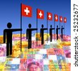 line of men holding Swiss flags on currency illustration - stock photo