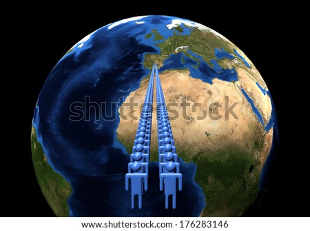 Line of men leading to Spain on Earth globe illustration - Elements of this image furnished by NASA