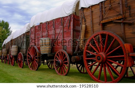 Line of ore wagons used in late 1800's to haul gold ore from Idaho mines - stock photo