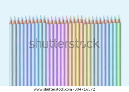 line of pastel colored pencils - stock photo