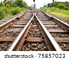 Line of railway crossing in rural of Thailand. - stock photo