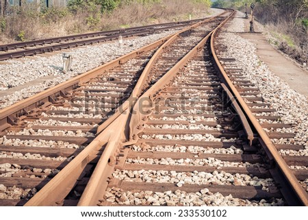line of railway crossing , railroad turnout background  - stock photo