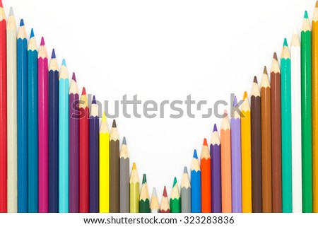 Line of rainbow colours wooden pencil on white background - stock photo
