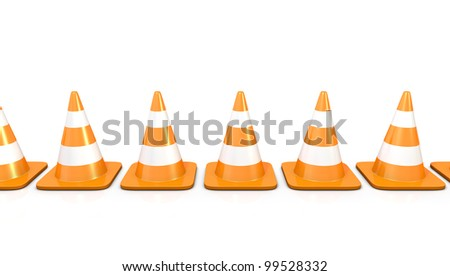 Line of traffic cones, isolated on white background - stock photo