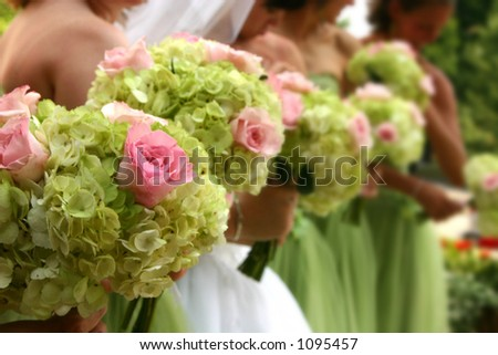 Line of wedding flowers - stock photo