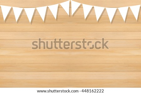 Line of white triangle flags hanging on wooden background  - stock photo