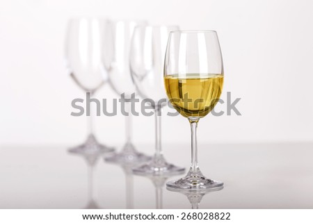Line of wine glasses - stock photo