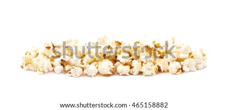 Line pile of the popcorn flakes isolated over the white background