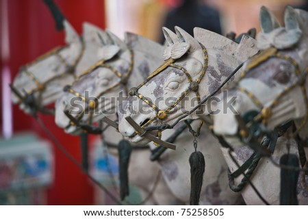 Line-up head of horse statue - stock photo