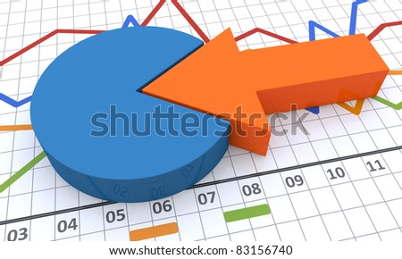 Linear and pie bar chart - stock photo