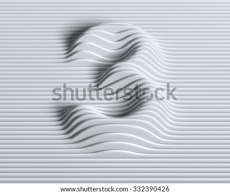 linear 3d font number 3 - stock photo
