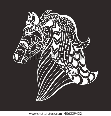 linear decorative horse. Doodles art, zentangle. Logo,template for postcards - stock photo