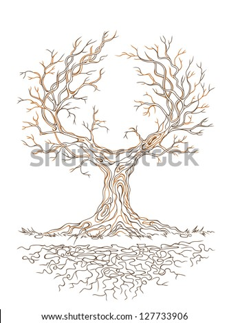 Linear graphic old big stale branchy tree