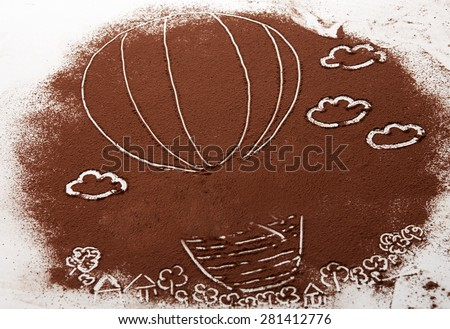 Linear illustration painted on cocoa powder background - stock photo