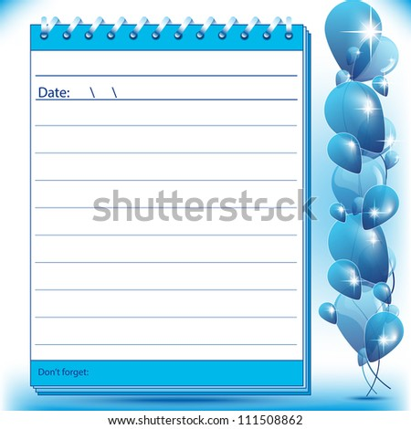 Lined Block notes page in blue shades with balloons - stock photo