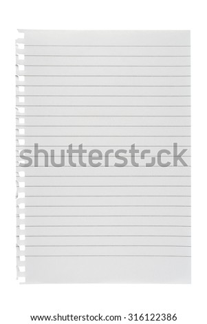 Lined paper isolated on white background - stock photo