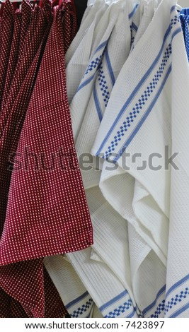 Linen,Dishtowels-linen dishtowels white and blue and rust - stock photo