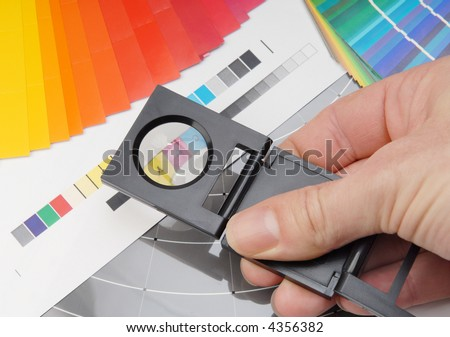 Linen tester with color sample. - stock photo