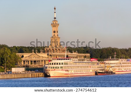 liner moored at north river station building, built 1937 - stock photo