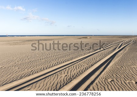 Lines in the sand by the sea with blue sky