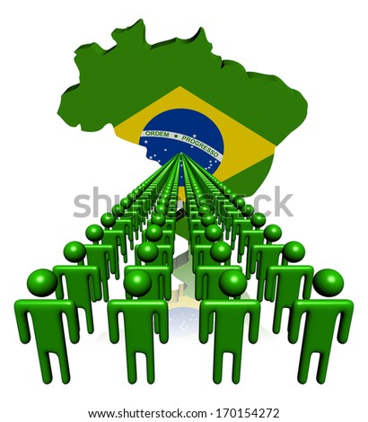 Lines of people with Brazil map flag illustration - stock photo