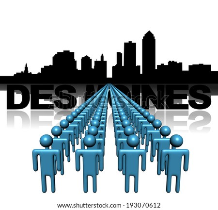 Lines of people with Des Moines skyline illustration - stock photo