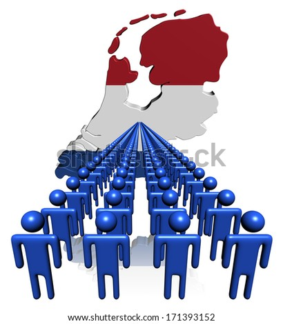 Lines of people with Netherlands map flag illustration - stock photo