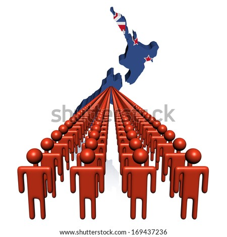 Lines of people with New Zealand map flag illustration - stock photo
