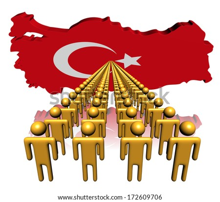 Lines of people with Turkey map flag illustration - stock photo