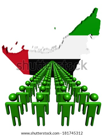 Lines of people with UAE map flag illustration - stock photo