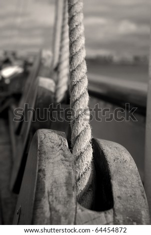 Lines on a sailing ship.