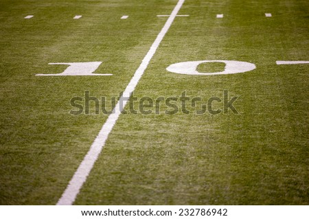 Lines on the turf in American Football Field.