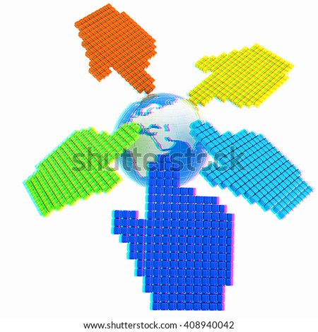Link selection computer mouse cursor and Earth - Glodal internet concept on white background. 3D illustration. Anaglyph. View with red/cyan glasses to see in 3D. - stock photo