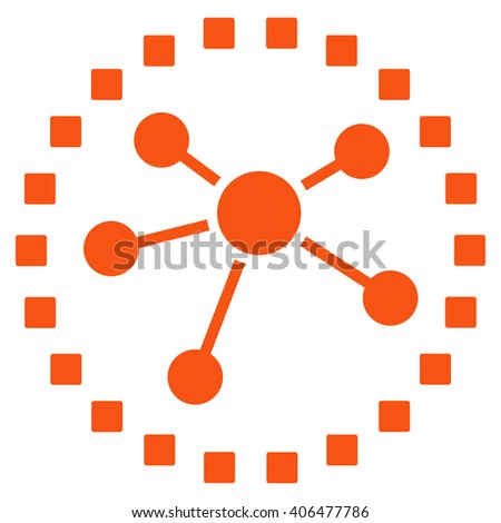 Links Diagram glyph toolbar icon. Style is flat icon symbol, orange color, white background, square dots.
