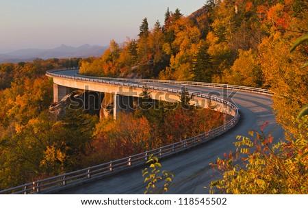 Linn Cove Viaduct at sunrise - stock photo