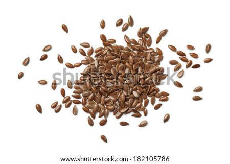 Linseeds on white background - stock photo